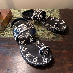 Tory Burch | Reena navy blue and white flat sandal